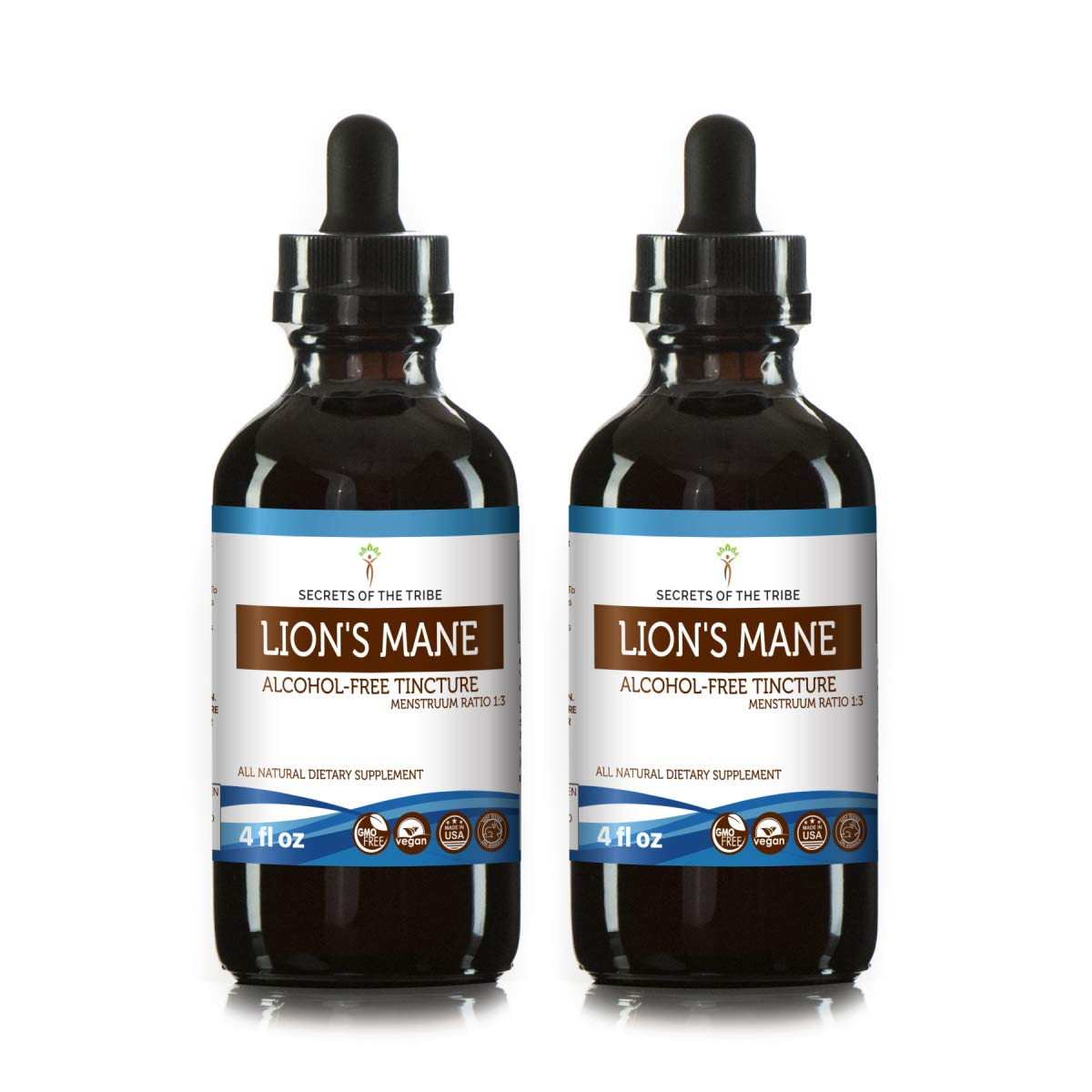 Lion s Mane Tincture Alcohol-Free Extract, Organic Lion s Mane Hericium erinaceus Dried Mushroom 2×4 fl oz