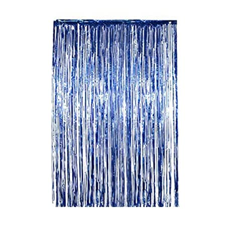 PoeHXtyy Foil Metallic Backdrop Fringe Cortinas Shimmer ...