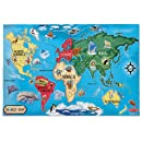 Melissa & Doug World Map Floor Puzzle, 33 Pcs, 2X3-Feet