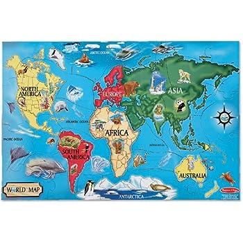 Melissa & Doug World Map Jumbo Jigsaw Floor Puzzle (33 pcs, 2 x 3 feet)