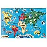 "Melissa & Doug World Map 33 pcs Floor Puzzle, 2""x3""ft"