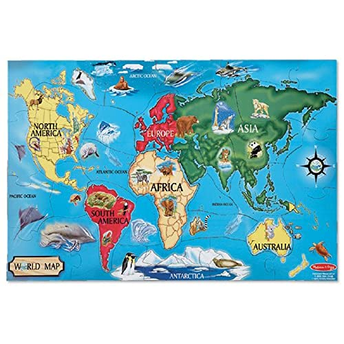Continents and oceans map amazon melissa doug world map jumbo jigsaw floor puzzle 33 pcs 2 x 3 feet gumiabroncs Gallery