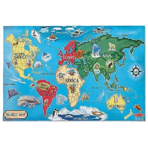 Continent map amazon melissa doug world map jumbo jigsaw floor puzzle 33 pcs 2 x 3 feet gumiabroncs Image collections
