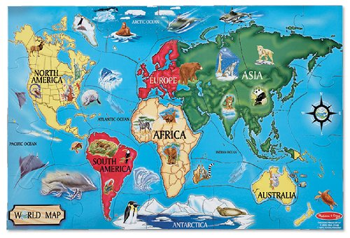 Kids Map Continents - Melissa & Doug World Map Jumbo Jigsaw Floor Puzzle (33 pcs, 2 x 3 feet)
