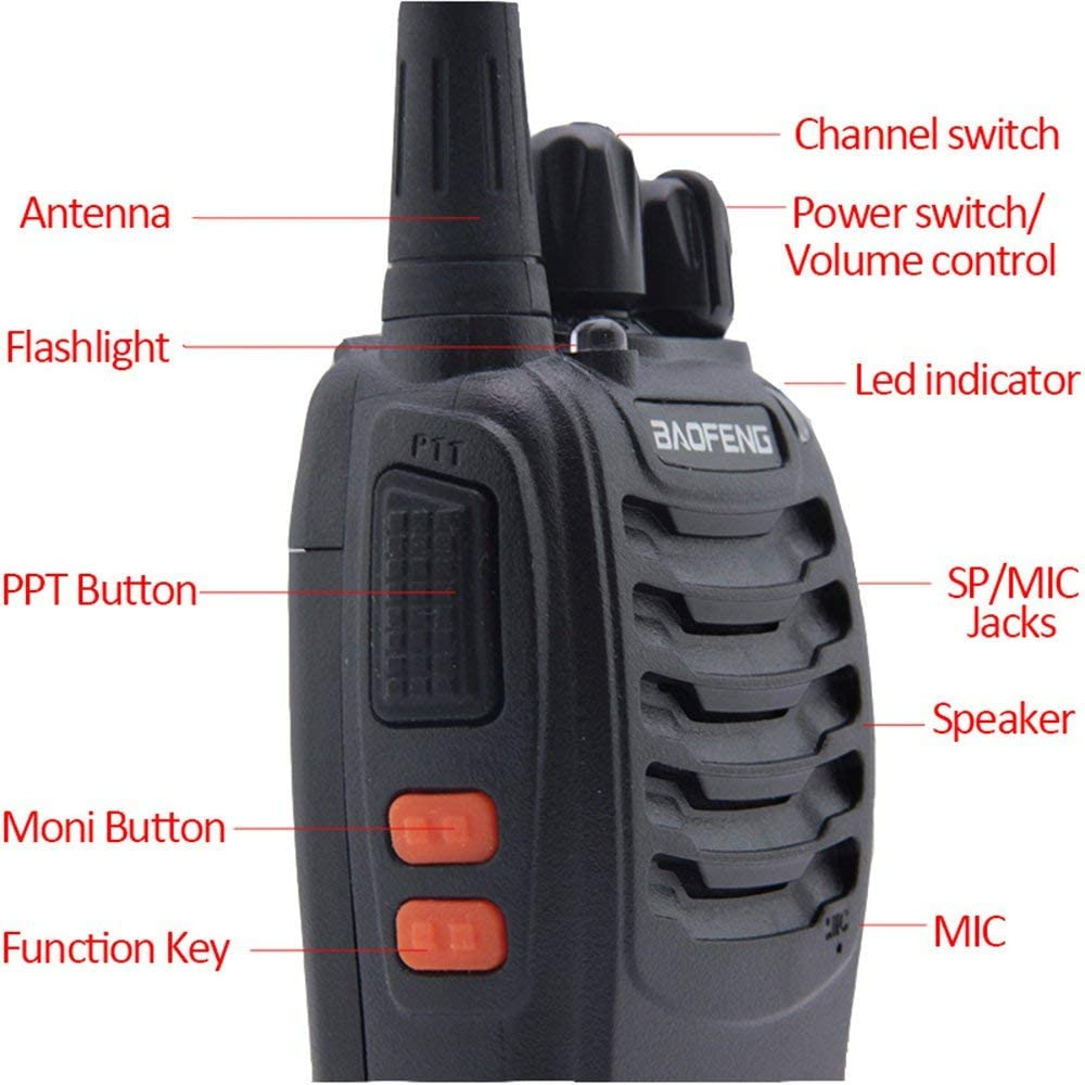 4 Packed of Set Black Baofeng BF-888S USB Charger Rechargeable Walkie Talkies Two Way Radio UHF 400-470MHz Long Rang 5W 16 Channels with Earpieces