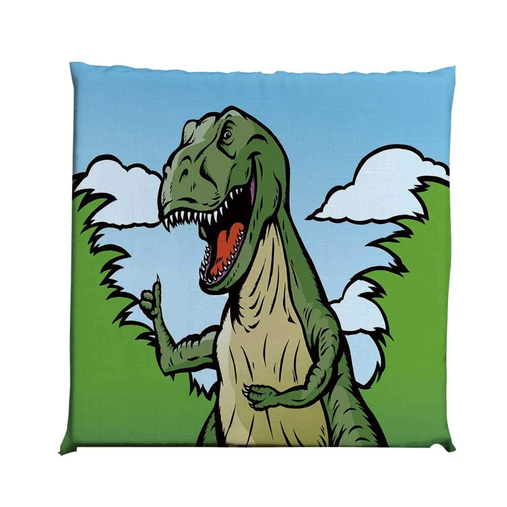 YOLIYANA Dinosaur Durable Square Chair Pad,Cartoon T Rex with Funny Face Giving Thumps Up Clouds Trees Sky Decorative for Bedroom Living Room,One Size