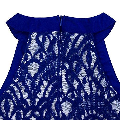 Dreaweet Swing Dentelle Vintage Floral Maille Licol De Femmes Cou Robe Patineuse Sans Manches Bleu