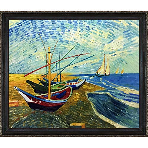 overstockArt Van Gogh Fishing Boats on The Beach at Saintes Maries Painting with La Scala Frame, Black and Gold Finish