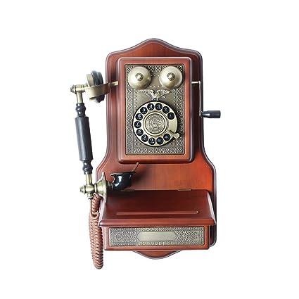 FACAIG Telephone-Fixed-Line Wall-Mounted vecchio legno massello ...