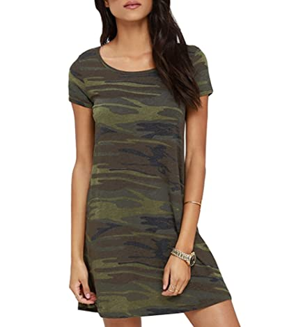 Review FV RELAY Women's Camo Leopard Print Loose Fit Short Sleeve Crew-Neck Swing Dress