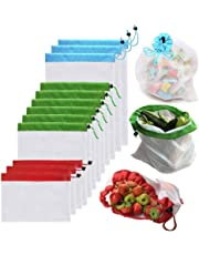 LDFV Reusable Mesh Produce Bags,Washable Eco Friendly Bags Fruit and Veg Bags for Grocery Shopping Storage Fruit Vegetable -3 Various Sizes(12x8In,12x13In,12x16In)