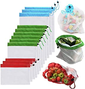 AMZPAY 12pcs Premium Reusable Mesh Produce Bags Washable Eco Friendly See-Through Bags for Home Shopping Grocery Shopping Storage Fruit Vegetable Snack Toys - 3 Different Sizes 12x17In,12x14In,12x8In