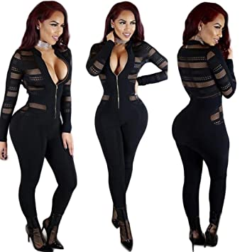 f3e5fcbc17d Image Unavailable. Image not available for. Color  Sunward Women Sexy  Bodycon Hollow Party Jumpsuits Rompers Clubwear With Long Sleeve (Black ...