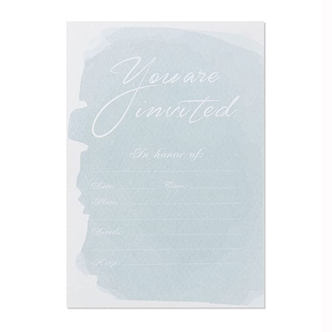 Review 30 Fill-In Invitations with Envelopes, Blue Watercolor Wedding Invitation Cards, Simple Bridal Shower, Baby Shower, Reception, Rehearsal Dinner, Birthday Invites