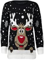 Riddled With Style™ New Womens Reindeer Christmas Xmas Gift Jumper Knitted Jumper Unisex Joker Jumper Size 8-30