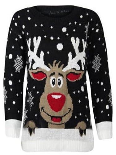 Nuevo–reno de la Navidad Regalo de Navidad Jersey De Punto Jersey señoras tamaño 8–30