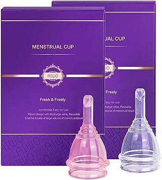 AIWO copa menstrual - paquete estéril & válvula de descarga - vacía tu copa sin quitártela - talla pequeña copa menstrual organica hecha para mujeres ...