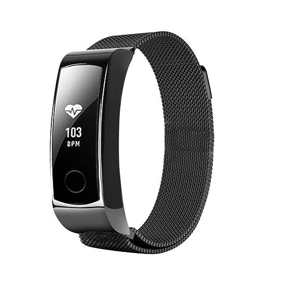 Zolimx Banda de Acero Inoxidable Correa Milanesa de Bucle Magnético Para Huawei Honor 3 Pulsera Reloj Inteligente (Negro): Amazon.es: Relojes