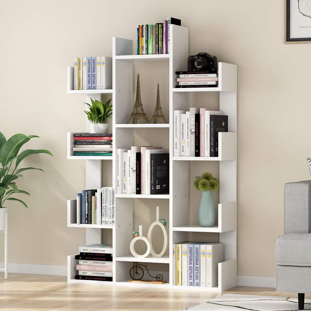 Tribesigns 12-Shelf Bookcase, Modern Tree Bookshelf Book Rack Display Shelf Storage Organizer for CDs, Records, Books, Home Office Deco White