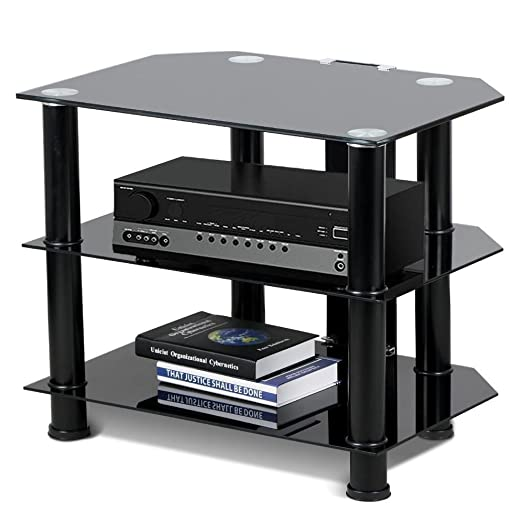 chinkyboo 3 tier small black glass gloss corner tv stand for