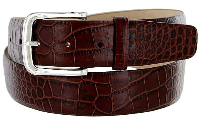 Avnet Ceinture Homme 38mm Cuir de Veau Italien Boucle Alliage Zinc Fini  Nickel, Alligator Marron ffbdc0f6b25