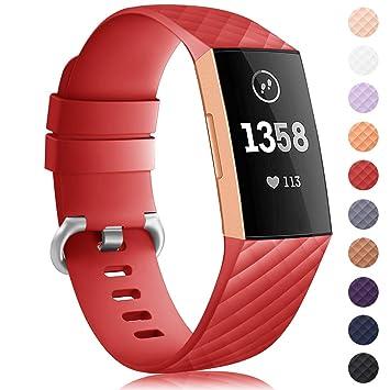 Onedream Compatible para Pulsera Fitbit Charge 3 Correa Silicona Mujer Hombre Recambio Accesorios Strap Rojo (sin Reloj), L: Amazon.es: Deportes y aire ...