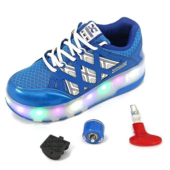 Recollect Unisex Mujeres Led Luz de Zapatillas Skate con 2 Ruedas Zapatos Patines Deportes Zapatos para Niños Niñas: Amazon.es: Ropa y accesorios