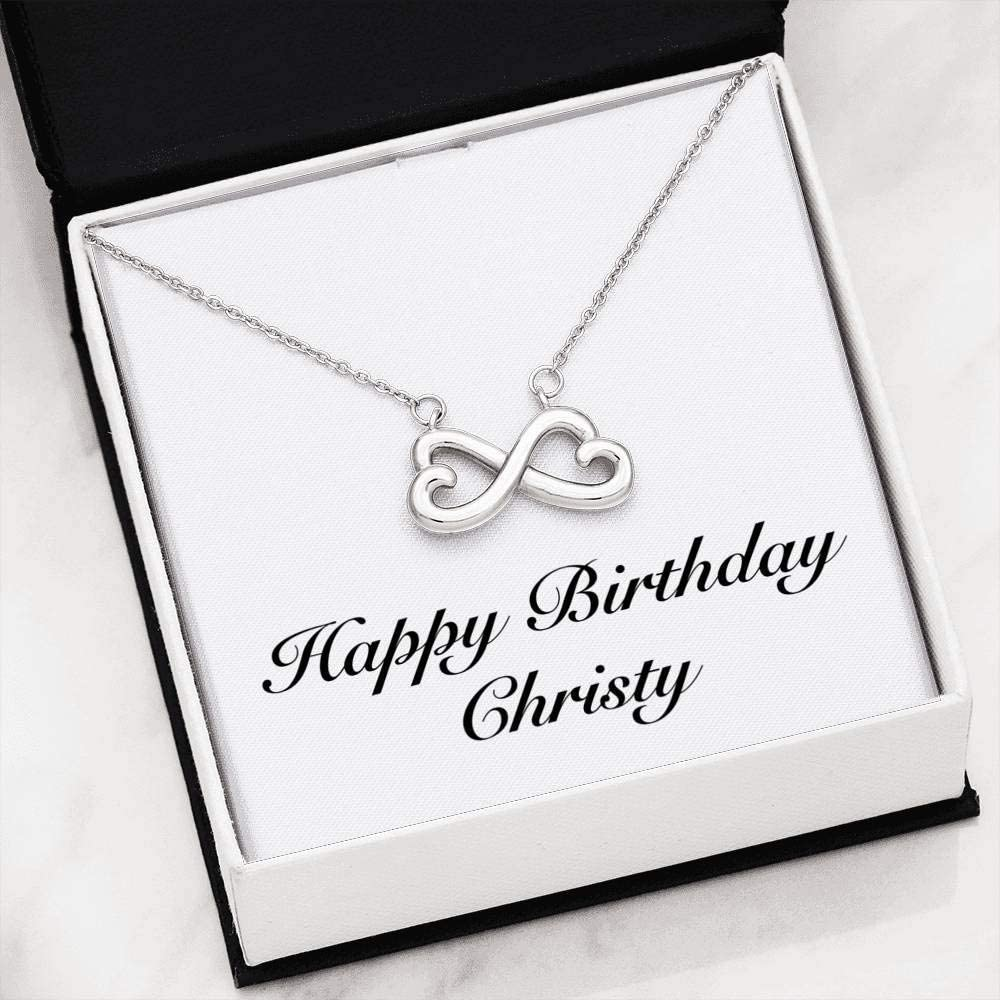 Infinity Heart Necklace 14k White Gold Finish Personalized Name Unique Gifts Store Happy Birthday Christy