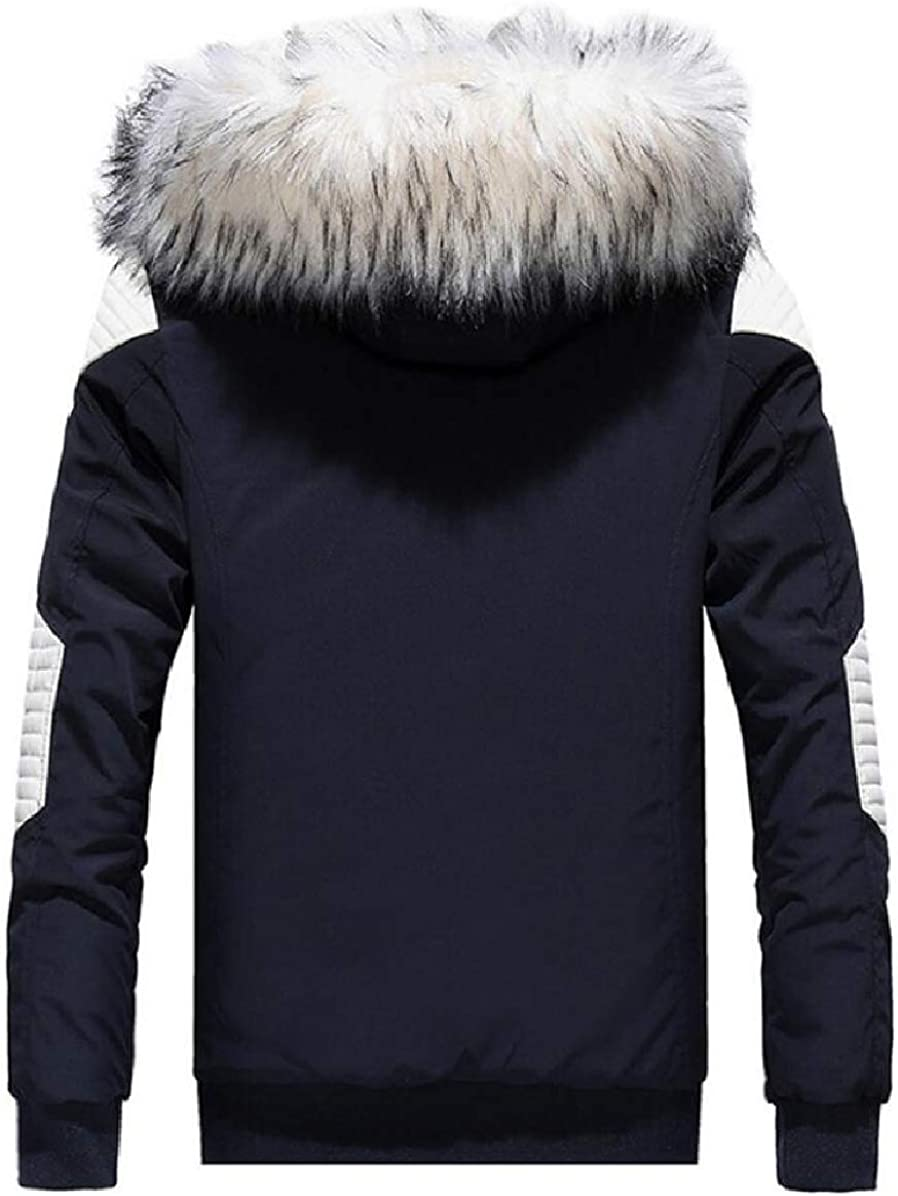 ONTBYB Mens Stylish Quilted Color Stitching Thick Faux-Fur Collar Down Jacket Coat