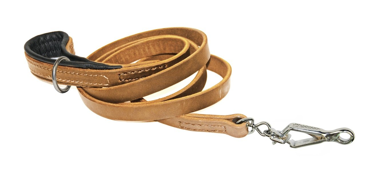 Dean & Tyler Tan Soft Touch Sprenger Snap Leash with Black Padding and Ring on Handle, 6-Feet by 3 4-Inch