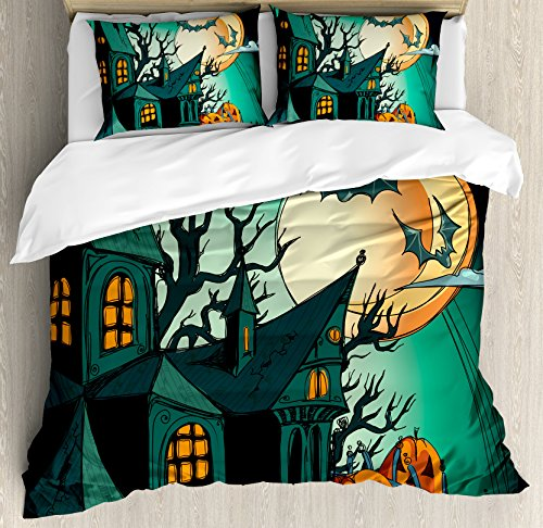 Ambesonne Halloween Duvet Cover Set Queen Size, Haunted Medieval Cartoon Style Bats in Twilight Gothic Fiction Spooky Art Print, Decorative 3 Piece Bedding Set with 2 Pillow Shams, Orange Teal