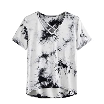 f8ade5ba749b53 Image Unavailable. Image not available for. Color: Jiayit Women's V-neck  Cross Tie-dyed Print Short Sleeve Front Criss Cross Shirt