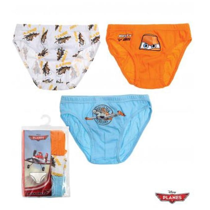 Aviones de Disney, 3 unidades calzoncillos breve ropa interior 100% algodón Edad 3 4