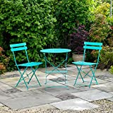 Kingfisher Turquoise Metal Bistro Conservatory/Outdoor Garden Patio Furniture Set