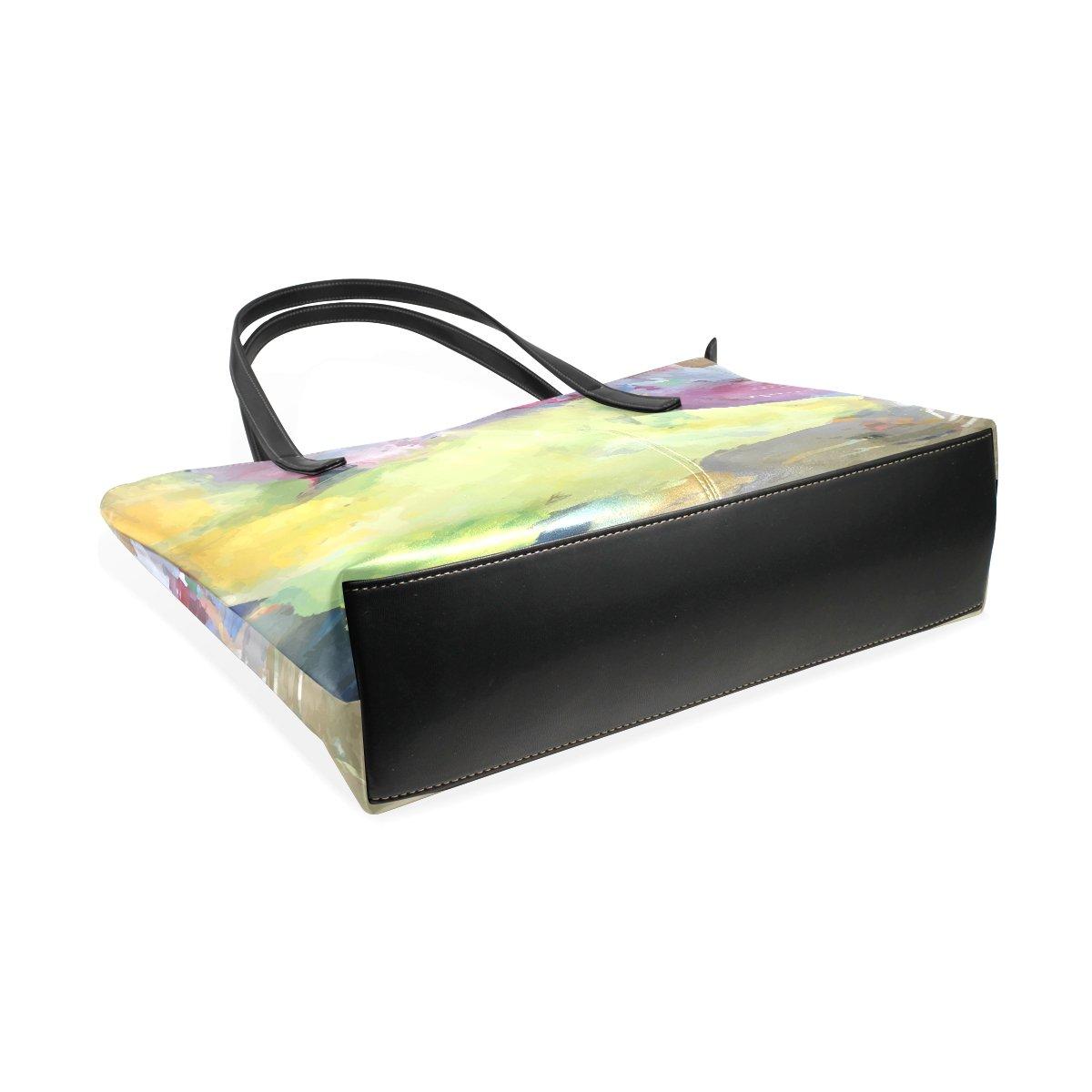 Womens Leather Top Handle Shoulder Handbag Oil Painting Large Work Tote Bag