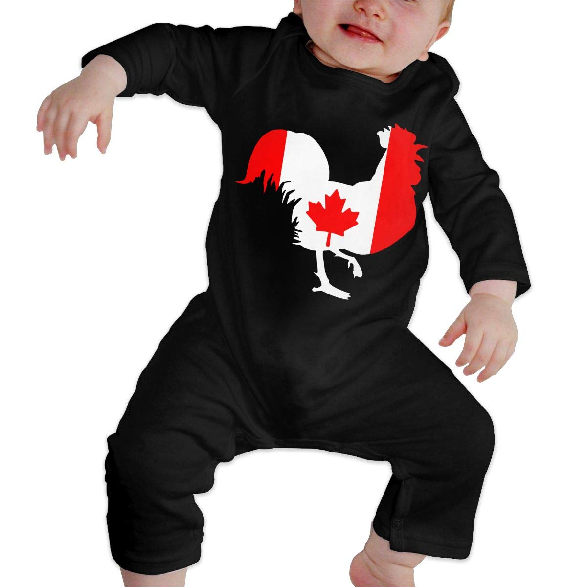 UGFGF-S3 Rooster with Canada Flag Baby Girl Long Sleeve Romper Jumpsuit Bodysuits Onsies