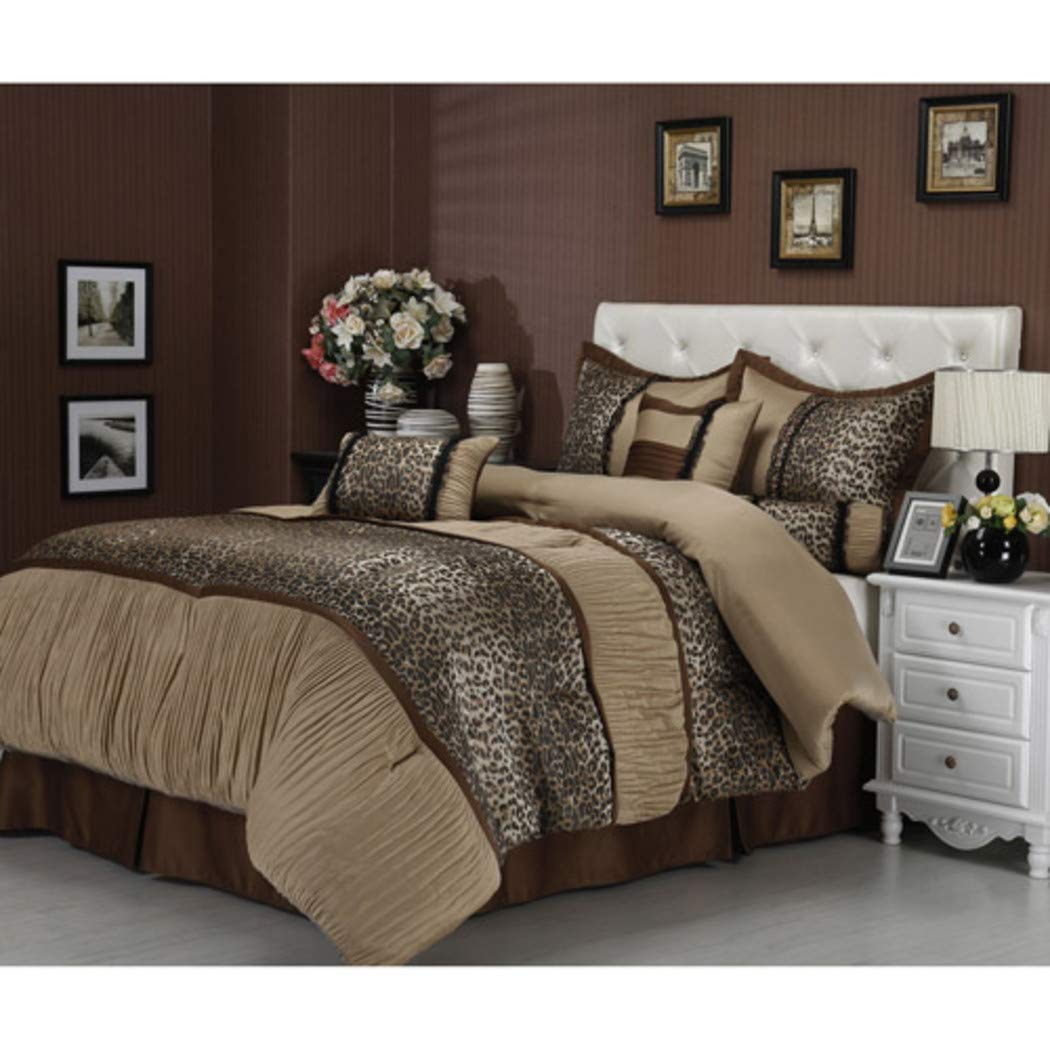 NA 7 Piece Brown Cheetah Stripes Pattern Comforter Queen Set, Beautiful Exotic African Safari Zoo Jungle Animal Pattern