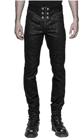 Pantalones Goticos Para Hombre Con Cremallera Tallada Steampunk Para Hombre Estilo Gotico Color Negro Amazon Es Ropa Y Accesorios