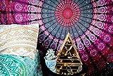 NALEDI Square Mandala Tapestry Bohemian Beach Towel , Psychedelic Wall Art, Dorm Décor Beach Throw, Indian Wall Tapestries Art,Wall Hanging, Yoga Mat, Picnic Mat , Table Throw(purple)(59x59)