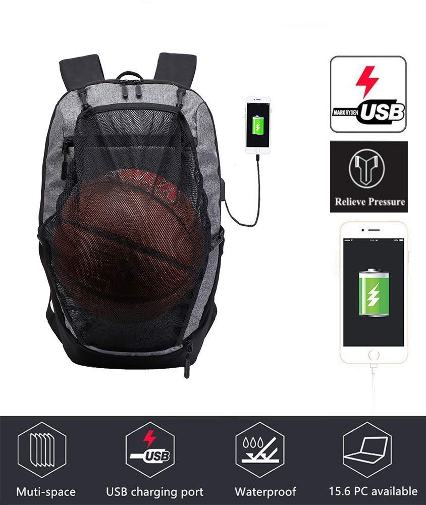 79ef38d14c39 KEYNEW Basketball Backpack Practical Sports Gym Bag, Travel Shoulder Bag  for Women & Men, Water Resistant College School Bookbag, Slim Business ...