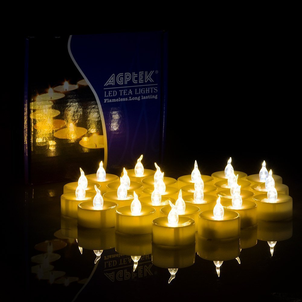AGPTEK 100 Battery Operated LED Amber Flameless Flickering Flashing Tea Light Candle by AGPTEK