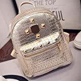 XENO-College Wind Schoolbag Washed PU Leather Backpack Women Rivet Mini Backpack(golden)