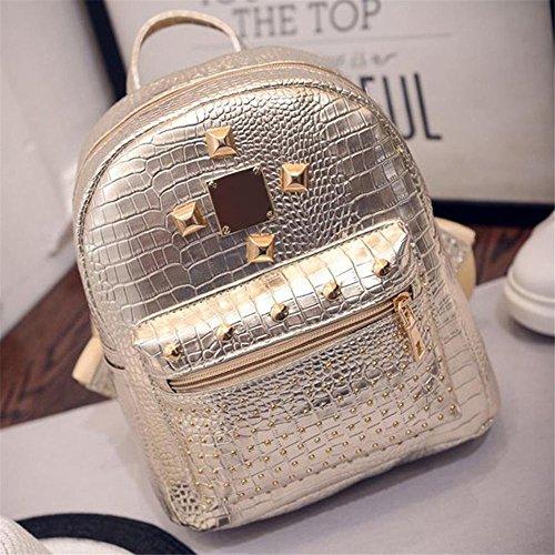 Ip Rivets (XENO-College Wind Schoolbag Washed PU Leather Backpack Women Rivet Mini Backpack(golden))
