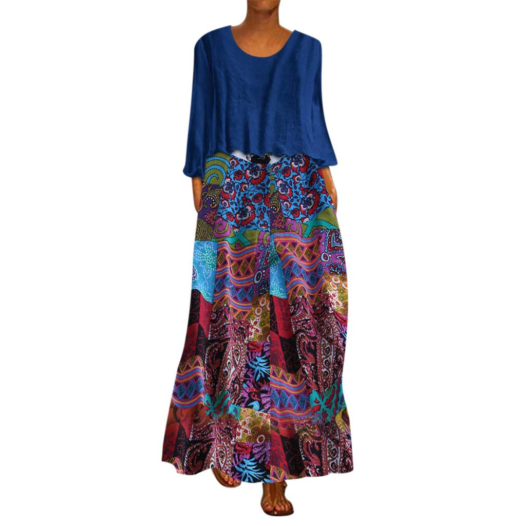 FEDULK Womens Vintage Ethnic Dress Floral Print Two Pieces Long Sleeve O Neck Plus Size Maxi Long Dress(Blue, XXXX-Large) by FEDULK