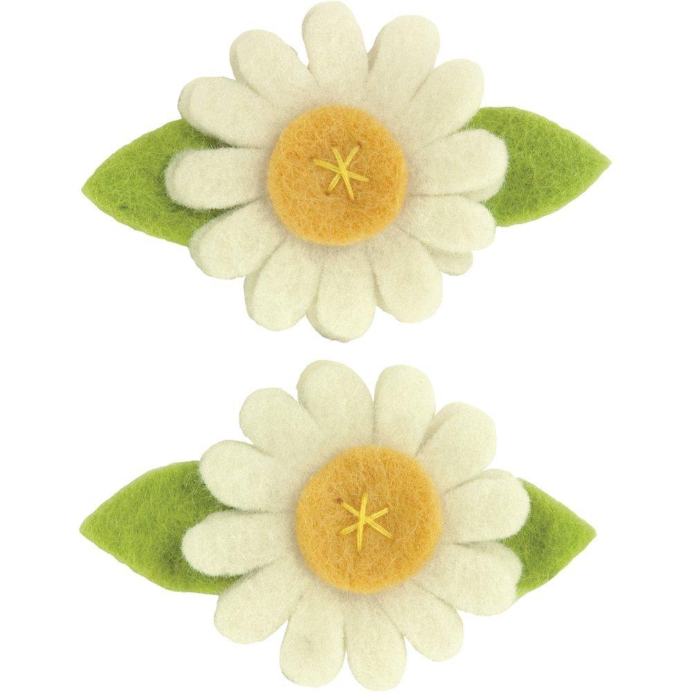 2 pc Dimensions Daisy Wool Felt Flower Embellishment Craft 3 x 2