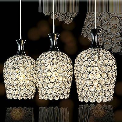 "DINGGUâ""¢ Modern 3 Lights Crystal Pendant Lighting for Kitchen Island and Dining Room"