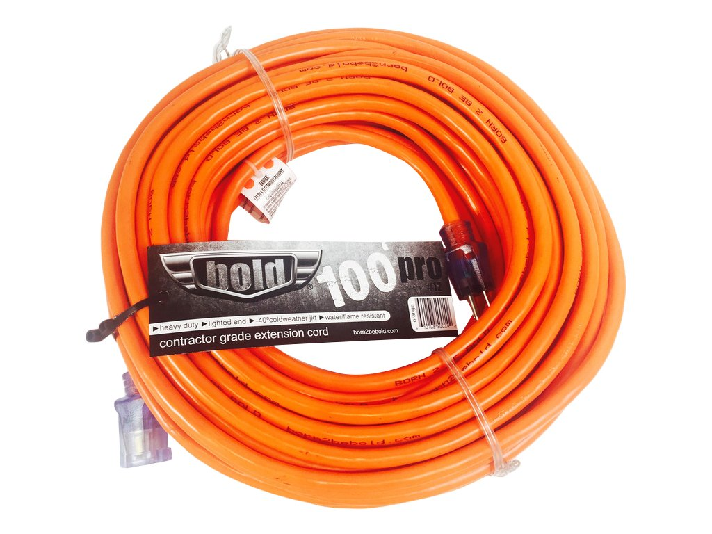 Bold 25 12//3 ETL Listed Contractor Grade Extension Cord with Lighted Ends Red