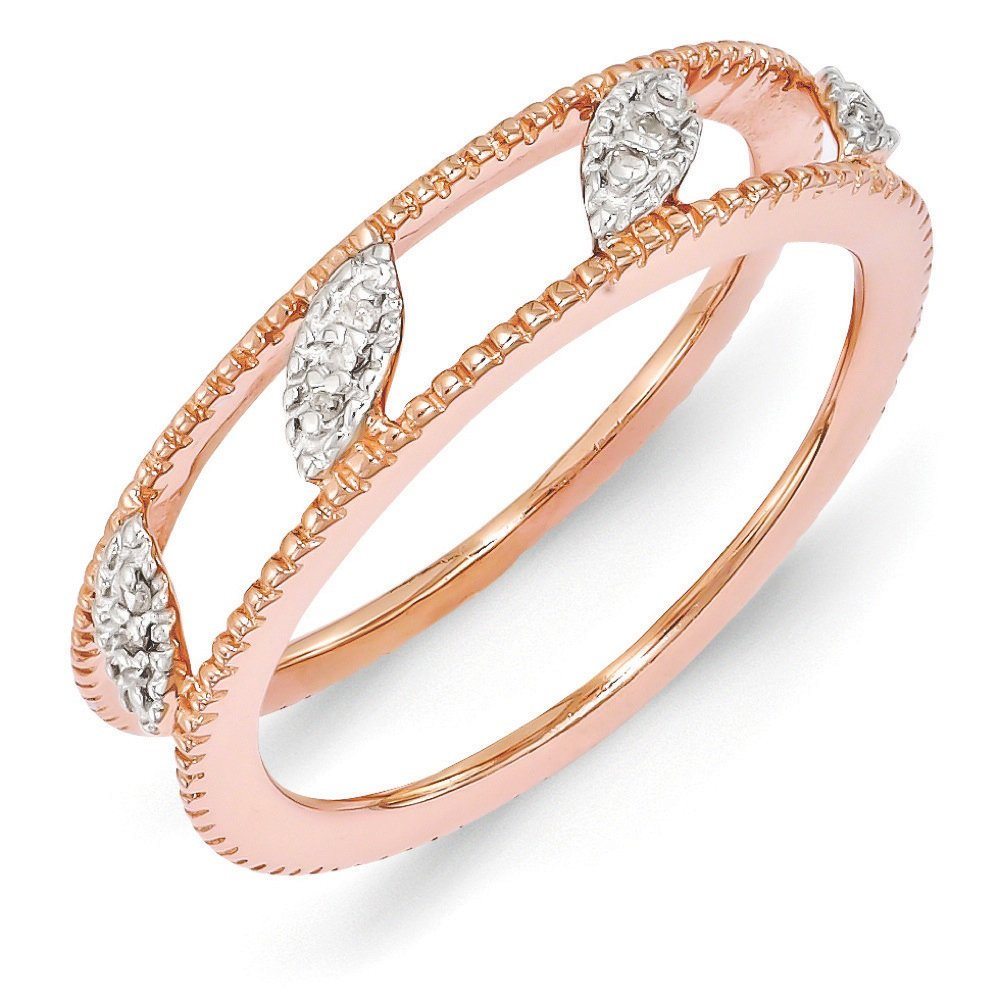 Rose Gold Tone Sterling Silver Diamond Jacket Ring (.036 Ctw, I3 Clarity, H-I Color), Size 10