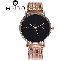 Singular-Point MEIBO - Reloj de pulsera analógico con correa de acero inoxidable, mecanismo de cuarzo, 2018