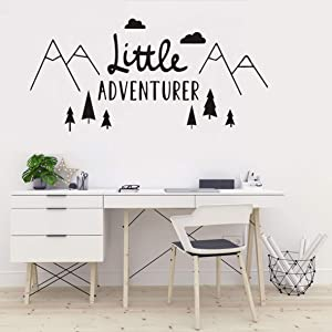 The Tribal Mountain Little Adventure Wall Sticker Art Travel Adventures Mountains Wall Decal for Kids Room Nursery Room Bedroom Wall Art Murals Removable Boys Wall Poster QQ198 (88X42CM)